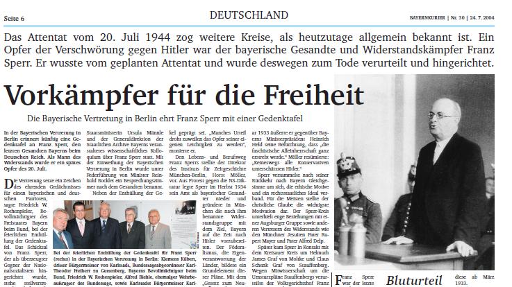 Einweihung der Gedenktafel für Franz Sperr in der Bayerischen Vertretung 2004