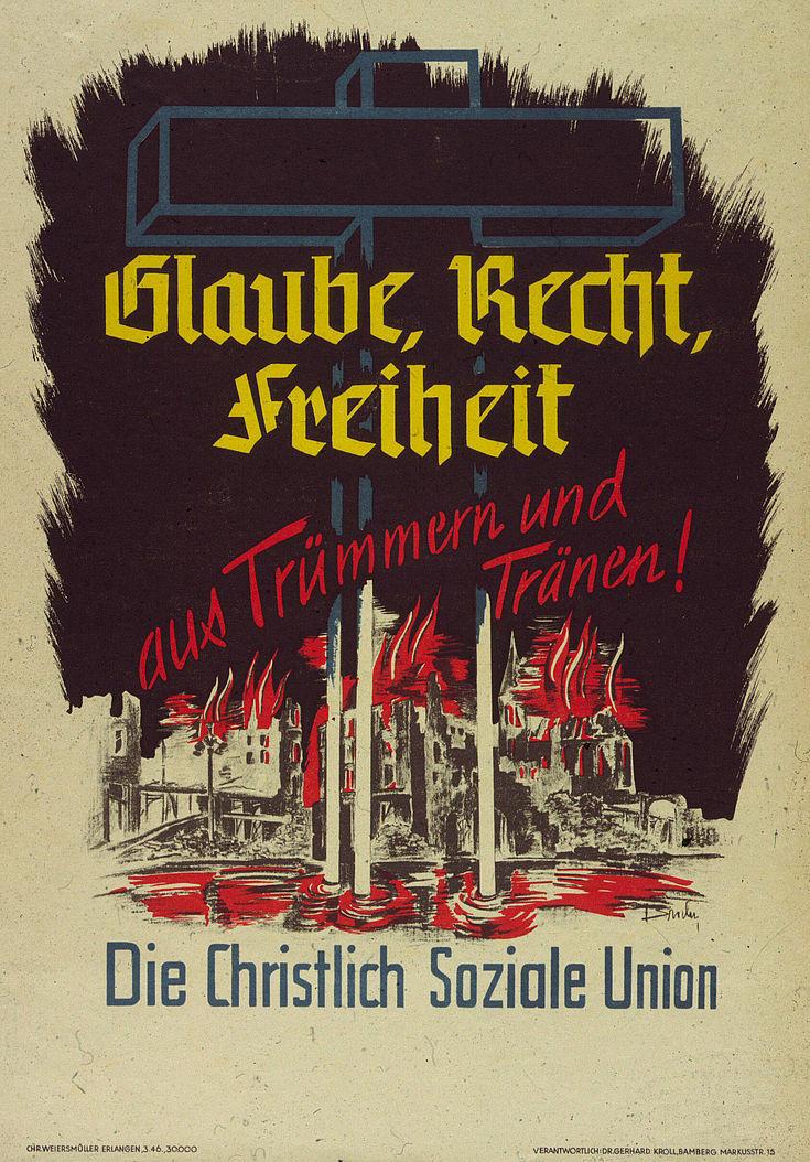 Plakat der CSU für die Kommunalwahl 1946