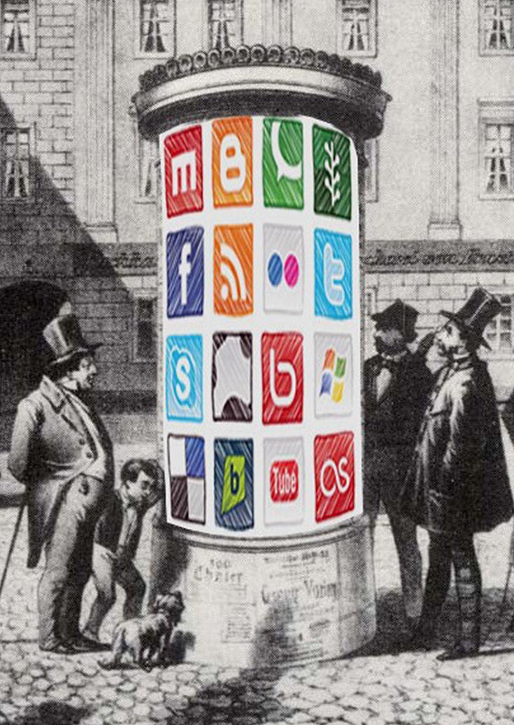 Bürger aus dem 19. Jahrhundert stehen vor einer Litfaßsäule auf der die Symbole der sozialen Netzwerke abgebildet sind.