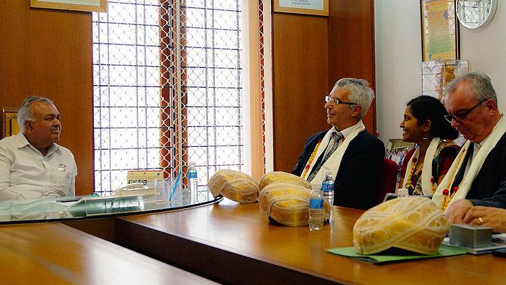 Innenminister Reddy (links) empfing zum ersten Mal in seiner Amtszeit deutsche Besucher
