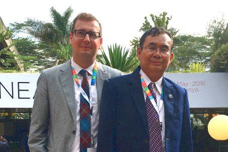 Axel Neubert mit U Ohn Win (Umweltminister von Myanmar)