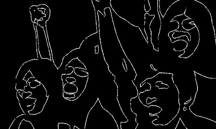 Eine Gruppe stilisierter Menschen die mit erhobenen Fäusten ihren Unmut kundtun