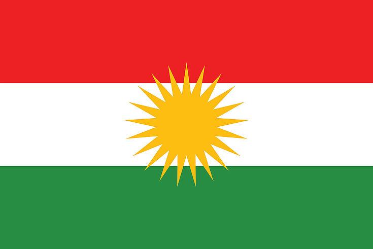Flagge der autonomen Region Kurdistan. Bald das Emblem eines neuen Staates?