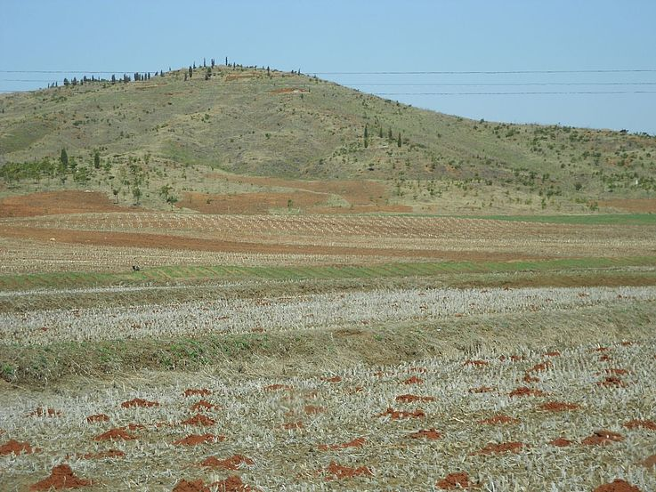 Sangsori in der südlichen Pyongyan-Provinz in Nordkorea 2012 – auf diesem Hügel wächst fast nichts mehr.