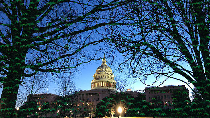 Das Capitol in Washington am Abend