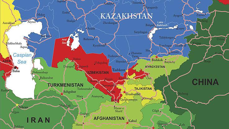 Karte mit den Ländern Zentralasiens