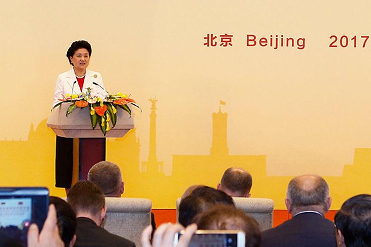 Vize-Ministerpräsidentin Liu Yandong bei einem Subforum über die Zusammenarbeit in der beruflichen Bildung