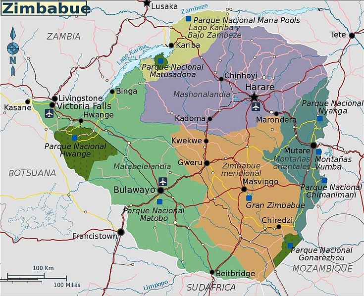 Karte Simbabwes