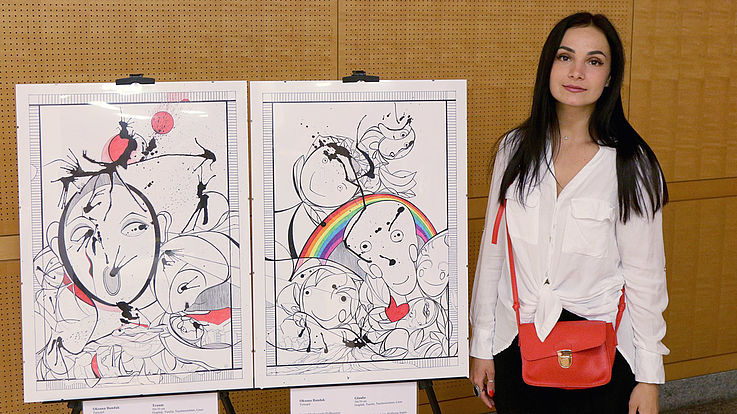 "Oksana Bandaks naive Grafiken ""Obsession"" (links) und ""Faith"" rechts"