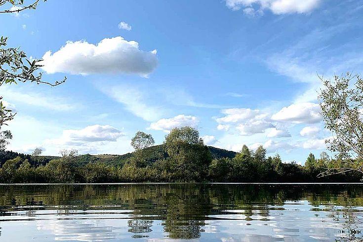 Am Ufer eines Sees, der sich zu einem mit Bäumen bewachsenen jeseitigen Ufer hin spannt.