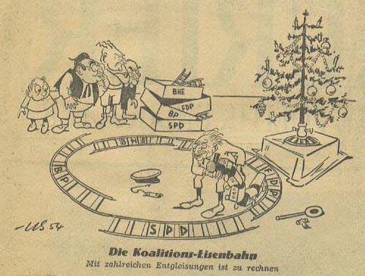 """""""Die Koalitions-Eisenbahn. Mit zahlreichen Entgleisungen ist zu rechnen."""" Karikatur von Herbert Kolfhaus 1954"""