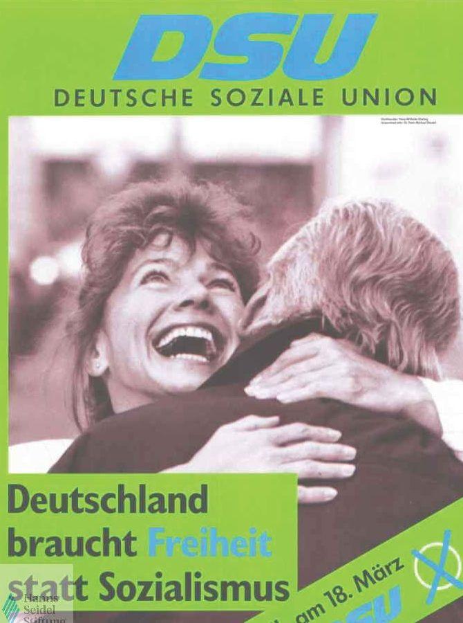 Plakat der DSU für die Volkskammerwahl 1990