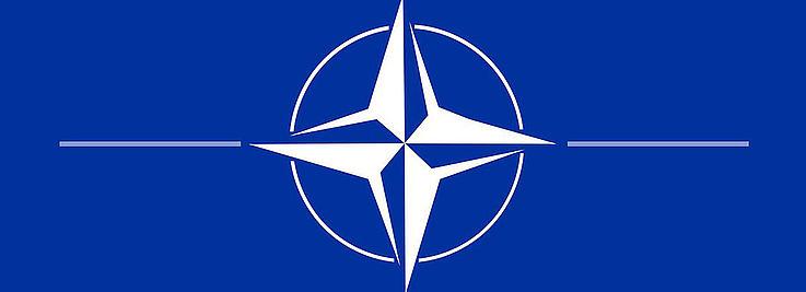 Das NATO-Symbol. Ein Vierzackiger Stern mit die Spitzen verlängernden Strichen an den Strahlenenden.