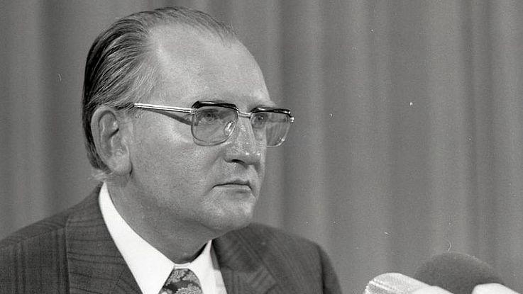 Fritz Pirkl auf einem CSU-Parteitag 1973