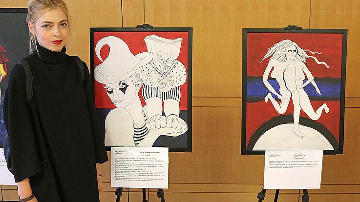 """Von Olga Tregubova aus Chernivtsi stammen die experimentellen Grafiken """"Idol in clowns hands"""" (links) und """"Skin shedding""""."""