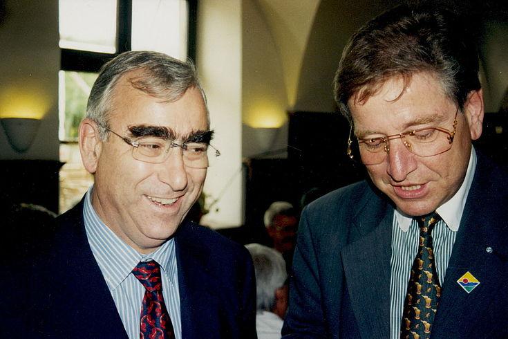 Theo Waigel und Thomas Goppel bei der 20-Jahr-Feier des PWK in Schloss Seefeld