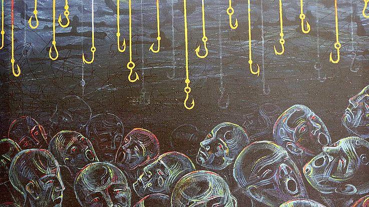 """""""Names on the faces"""" - Ein surrealistisches Werk mit expressionistischen Elementen von Maryana Kosyka."""