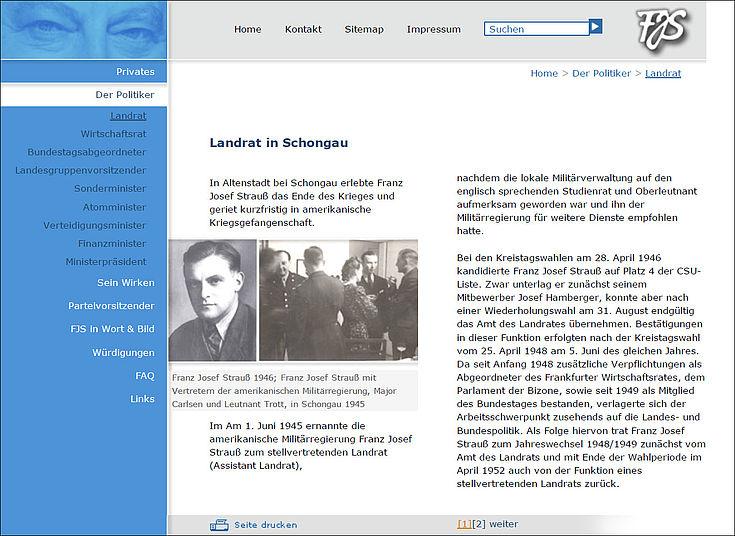 Die Homepage www.fjs.de im Design von 2005