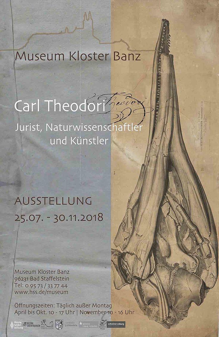 Plakat mit der Aufschrift Carl Theodori. Im Hintergrund ist der Schädelkopf eines Tieres zu sehen.