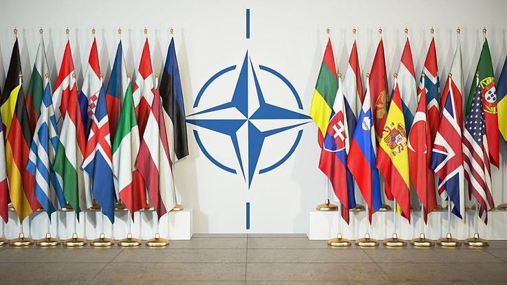 Die Flaggen der NATO-Mitgliedsländer rechts und links neben dem NATO-Stern