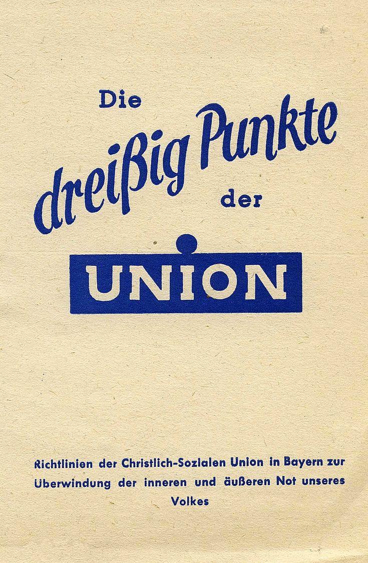 """Druckschrift """"Die dreißig Punkte der Union"""" von 1946"""