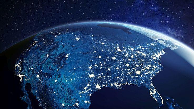 Die USA bei Nacht aus dem Weltraum.