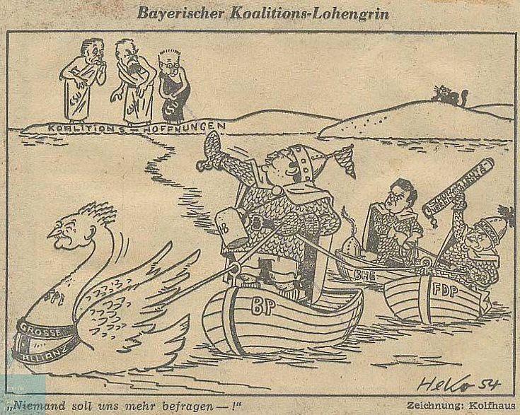 Karikatur über die Viererkoaltion von Herbert Kolfhaus 1954