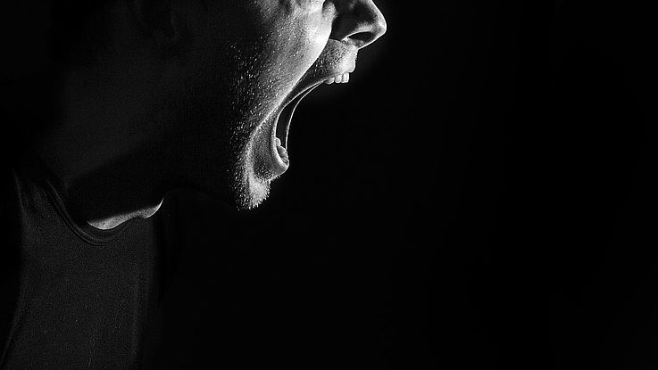 Ein hasserfüllter, offener, schreiender Mund im Profil.