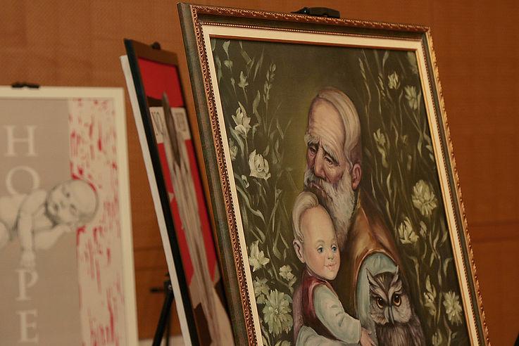 """""""Wisdom of Generations"""", ein Portrait in Öl von Anna Borachuk im surrealistischen Stil."""