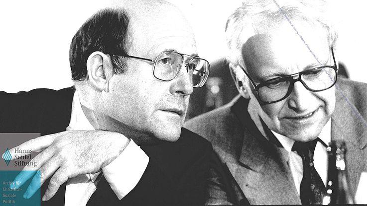 Wofgang Bötsch und Edmund Stoiber CSU-Parteitag 1991