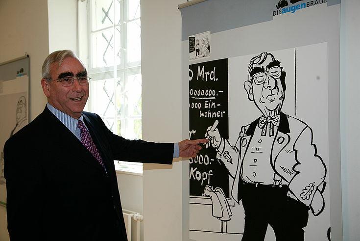 """Theo Waigel auf der Ausstellungseröffnung """"Die Augenbraue"""" am 25.04.2009 in Kloster Roggenburg"""