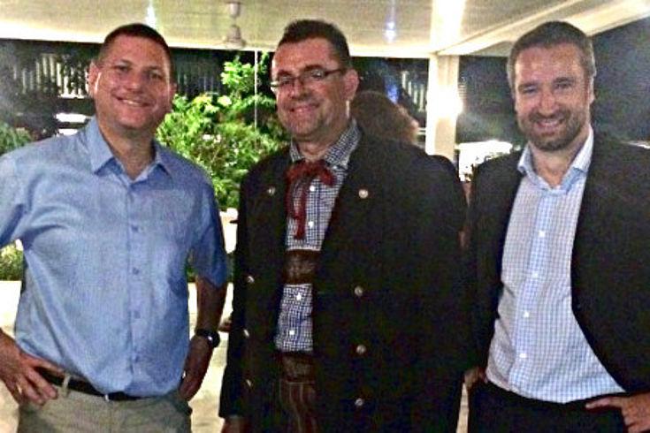 Götz Heinicke (bisher Auslandsmitarbeiter in der DR Kongo), Klaus Liepert (HSS München) und Frank Gollwitzer, der neue Repräsentant der HSS vor Ort