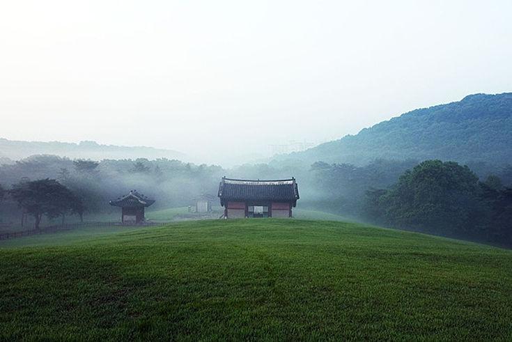 Buddhistischer Tempel im Nebel auf einem Hügel vor dunklen Wäldern. Sehr romantisch