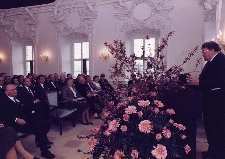 Franz Josef Strauß spricht auf der Eröffnung des Bildungszentrums Kloster Banz 1983