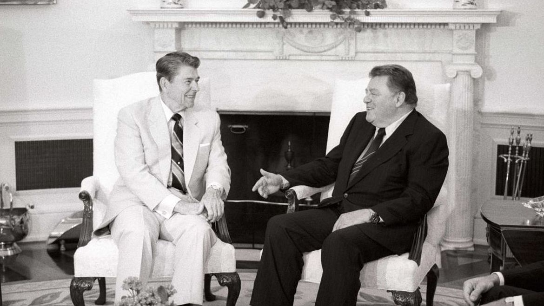 Franz Josef Strauß im Gespräch mit Ronald Reagan