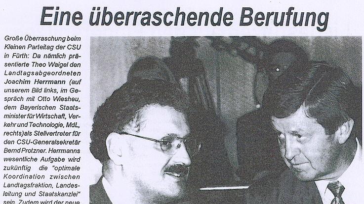 1997 - Berufung von Joachim Herrmann zum Stellvertretenden CSU-Generalsekretär