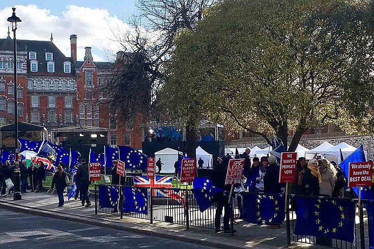 Demonstrierende Briten in den Straßen Londons mit Plakaten