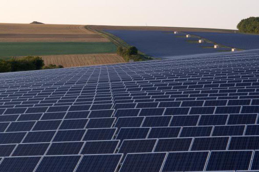 Solarpanele auf einem Feld am Straßenrand