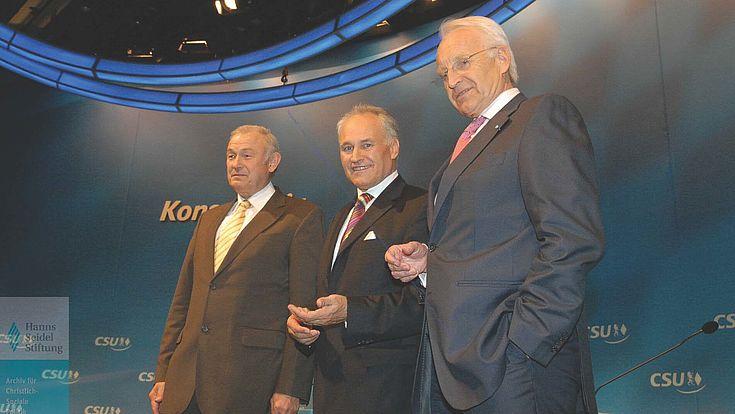 Günther beckstein, Erwin Huber, Edmund Stoiber CSU-Parteitag 2007