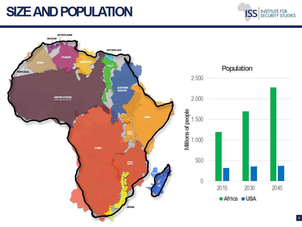 Karte Afrikas, in die viele andere Länderkarten eingpresst sind: z.B. die USA, China, Italien... so soll klar werden, wie vielen Menschen der Kontinent eine Heimat ist.
