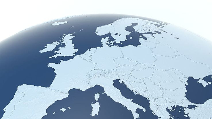 Der nördliche Teil des Globus mit Europa, Osteuropa, Russland