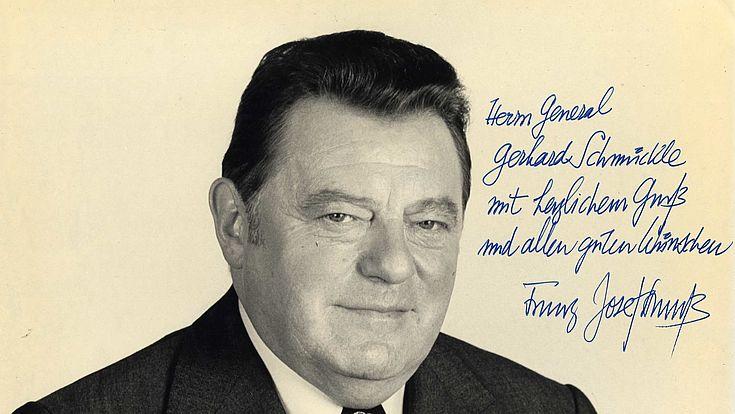 Autogram von Franz Josef Strauß für Gerd Schmückle