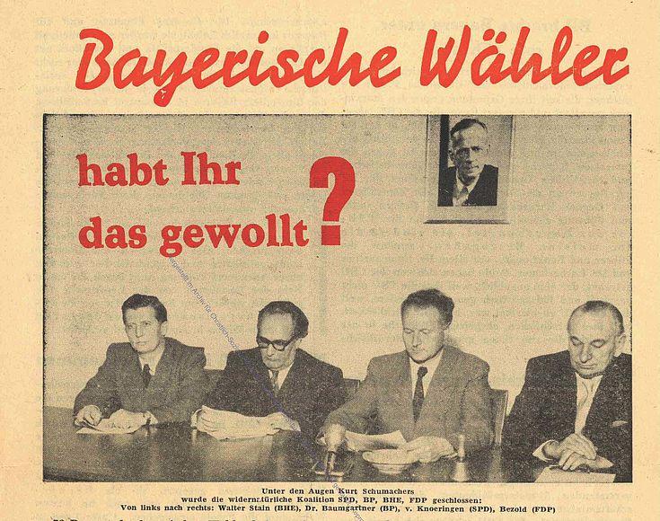 Bayerische Wähler habt Ihr das gewollt? Flugblatt der CSU nach der Landtagswahl 1954