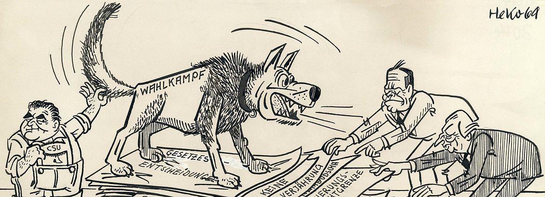 """""""Der Koalitions-Aktenhund"""" von Herbert Kolfhaus, 1969"""
