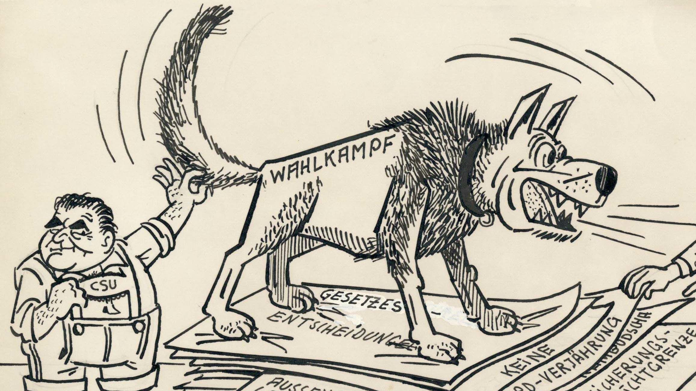 """Ausschnitt aus der Karikatur """"Der Koalitions-Aktenhund"""" von Herbert Kolfhaus, 1969"""