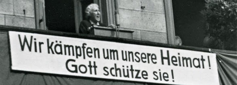 Kundgebung gegen die Ausweitung des Truppenübungsplatzes Hammelburg 1951