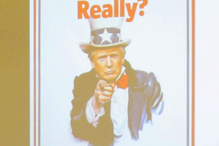 """Uncle Sam mit Trumps Gesicht und Schriftzug """"Really?"""" darüber"""