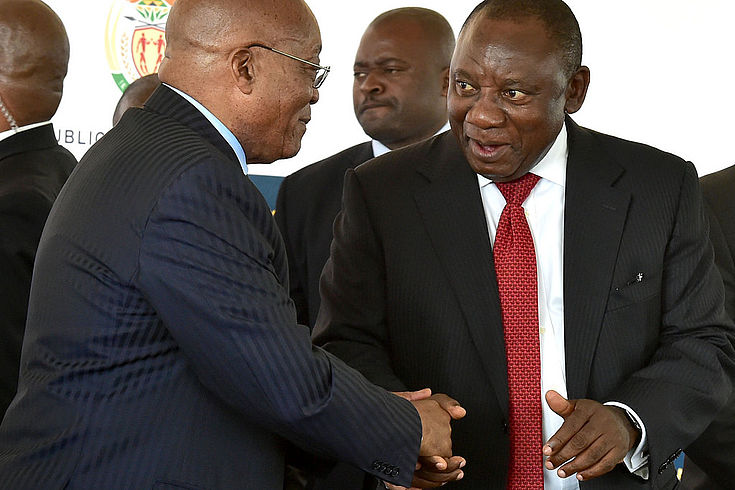 Präsident Jacob Zuma und Cyril Ramaphosa