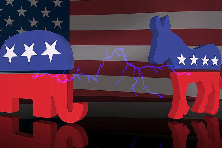 EIn Elefant und ein Esel in den USA Farben, dazwischen ein Blitz als Symbol der Konfrontation