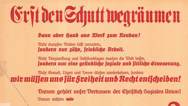 Plakat der CSU für die Wahl zur Verfassunggebenden Landesversammlung